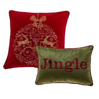 Elegant Reindeer Ornamental and Jingle Pillow Cover(Set of 2)