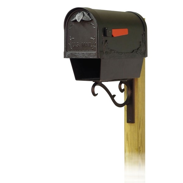 Special Lite Products Floral Curbside Mailbox with Newspaper Tube and Sorrento Front Single Mailbox Mounting Bracket