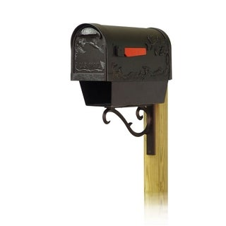 Special Lite Products Hummingbird Curbside Mailbox with Newspaper Tube and Sorrento Front Single Mailbox Mounting Bracket