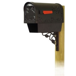 Special Lite Products Hummingbird Curbside Mailbox with Newspaper Tube and Floral Front Single Mailbox Mounting Bracket