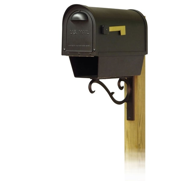 Special Lite Products Classic Curbside Mailbox with Newspaper Tube and Sorrento Front Single Mailbox Mounting Bracket