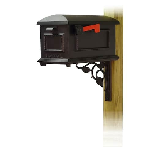 Special Lite Products Traditional Curbside Mailbox with Floral Front Single Mailbox Mounting Bracket