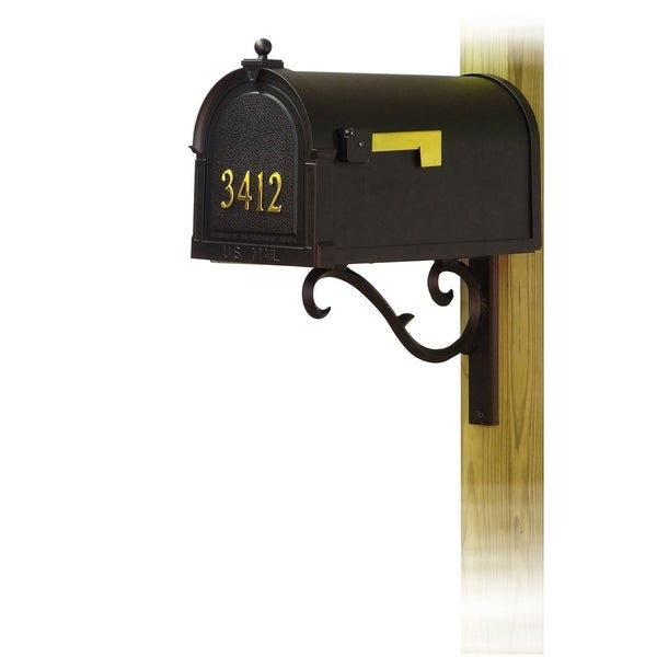 Special Lite Products Berkshire Curbside Mailbox with Front Address Numbers and Sorrento Front Single Mailbox Mounting Bracket