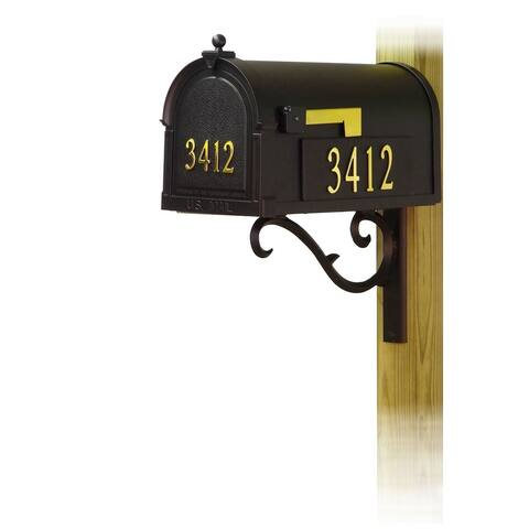 Special Lite Berkshire Curbside Mailbox with Front and Side Address Numbers and Sorrento Front Single Mailbox Mounting Bracket