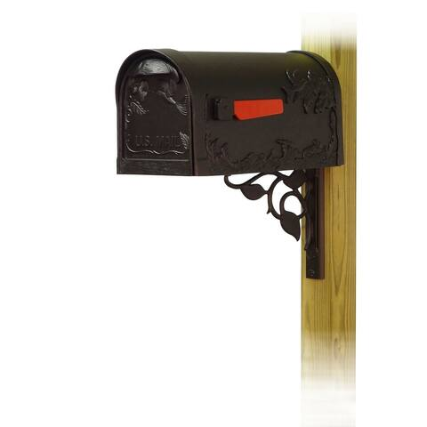 Special Lite Products Hummingbird Curbside Mailbox with Floral Front Single Mailbox Mounting Bracket