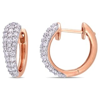Miadora 14k Rose Gold 1ct TDW Diamond Cluster Huggie Hoop Earrings