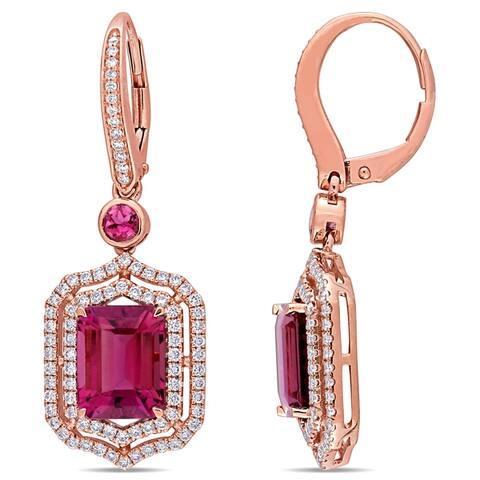 Miadora 14k Rose Gold Pink Tourmaline and 4/5ct TDW Diamond Halo Dangle Earrings