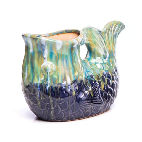 Ceramic Pittore Pesca, Multi-Blue