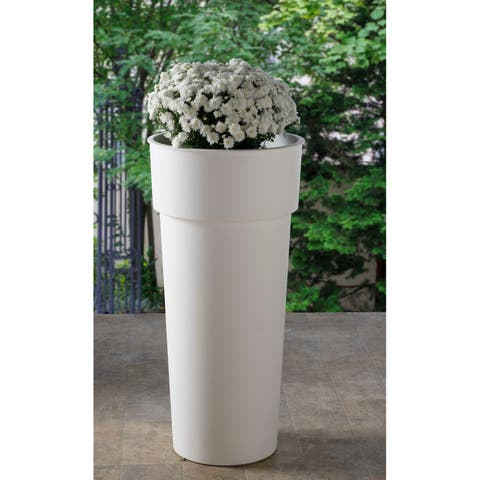"15"" Rd. Duo Pot with container- Shiny White - 14.75""w x 31.25""h"