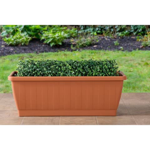 """Kezar Rectangular Resin Plant Box with Attached Tray - 19.5""""l x 7.75"""" w x 7""""h"""