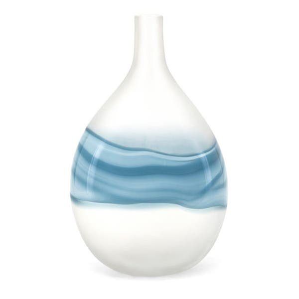 Shop Mist White And Blue Large Art Glass Vase Overstock 25757843