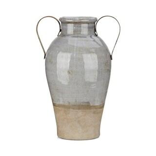 Trisha Yearwood Nightingale Grey Glazed and Brown Large Jade Vase