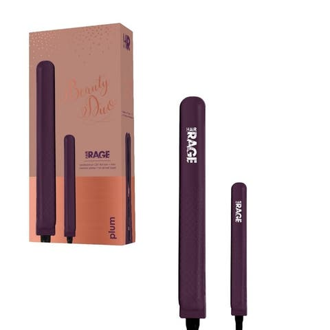 Hair Rage Beauty Duo 1-25 Inch and 0.5-Inch Travel Size Tourmaline Duet Flat Iron Set (Blush Rose)