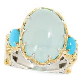 Michael Valitutti Palladium Silver Green Chalcedony & Sleeping Beauty Turquoise Ring