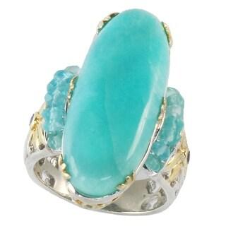 Michael Valitutti Palladium Silver Amazonite, Apatite & Sapphire Elongated Ring