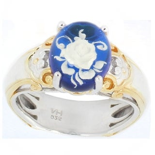 Michael Valitutti Palladium Silver Oval Blue Amber Flower Cabochon Solitaire Ring