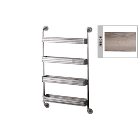 Urban Trends Metal Rectangle Wall Shelf with Iron Pipe Design, 4 Tiers and Wooden Surface in Coated Finish - Silver