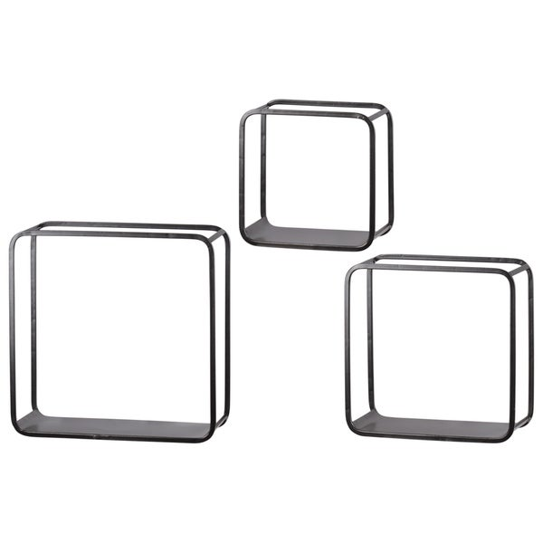 Metal Square Wall Shelf with Flat Bottom Surface, Round Corner Edges a
