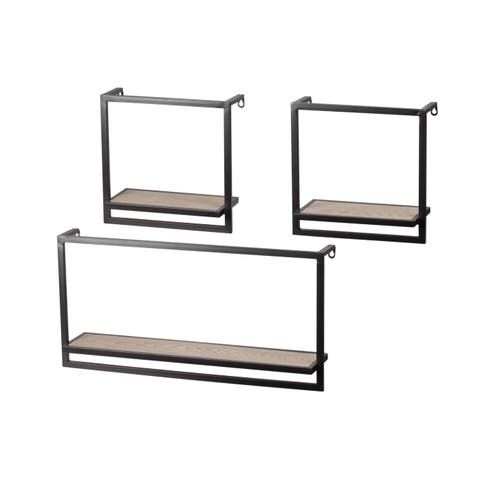 Urban Trends Metal Rectangle Wall Shelf with Wood Surface and Key Hole Back Hangers in Coated Finish, Assortment of 3 - Charcoal