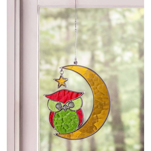 Owl on the Moon Multicolor Stained Glass Wall Decor