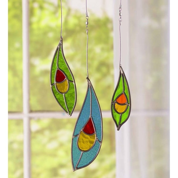 Stained Glass Peacock Feathers, Set of 3