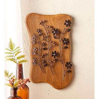 Metal Branches on Wood Wall Art