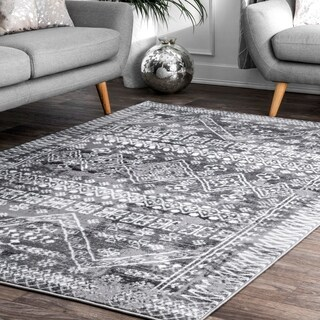 The Curated Nomad Kahlo Grey Vintage Aztec Moroccan Area Rug