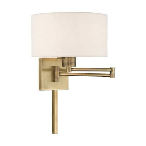"Carson Carrington Valkeakoski 1-light Oatmeal Swing Arm Wall Lamp - 11""W x 11""H x 24.25""D (As Is Item)"