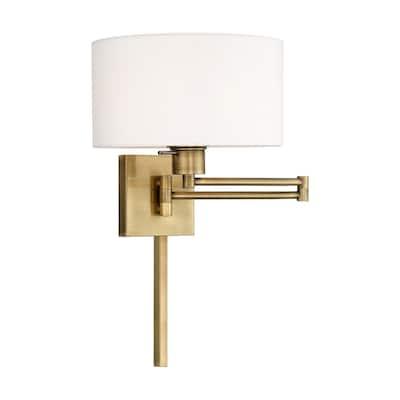 Livex Lighting 1-Light Off-White Drum Shade Swing Arm Wall Lamp