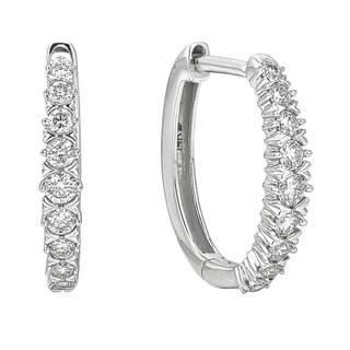 Diamond 1/2ct Hoop Earrings in 10K White Gold