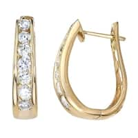 Diamond 1.00 ct Hoop Earrings in 14K Yellow Gold