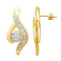 Diamond 1/4ct Swirl Earrings in 10K Gold