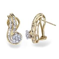 Diamond 3/4ct Swirl Earrings in 14K Gold