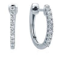Diamond 1/4 ct Oval Hoop Earrings in 10K White Gold