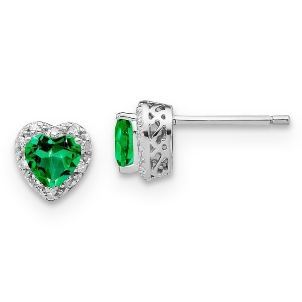 1161a730eff54 Versil Sterling Silver .10 Carat Diamond and Lab Created Emerald Heart  Earrings