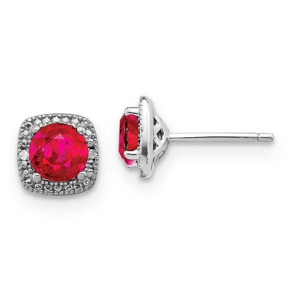 c51d97519 Shop Versil Sterling Silver .02 Carat Diamond and Lab Created Ruby Earrings  - Free Shipping Today - Overstock - 25759969