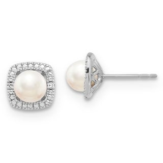 Versil Sterling Silver Freshwater Cultured Pearl and .02 Carat Diamond Earrings