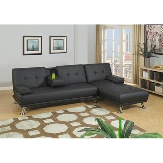 Lissandra Black Faux Leather Adjustable Sofa and Chaise Set