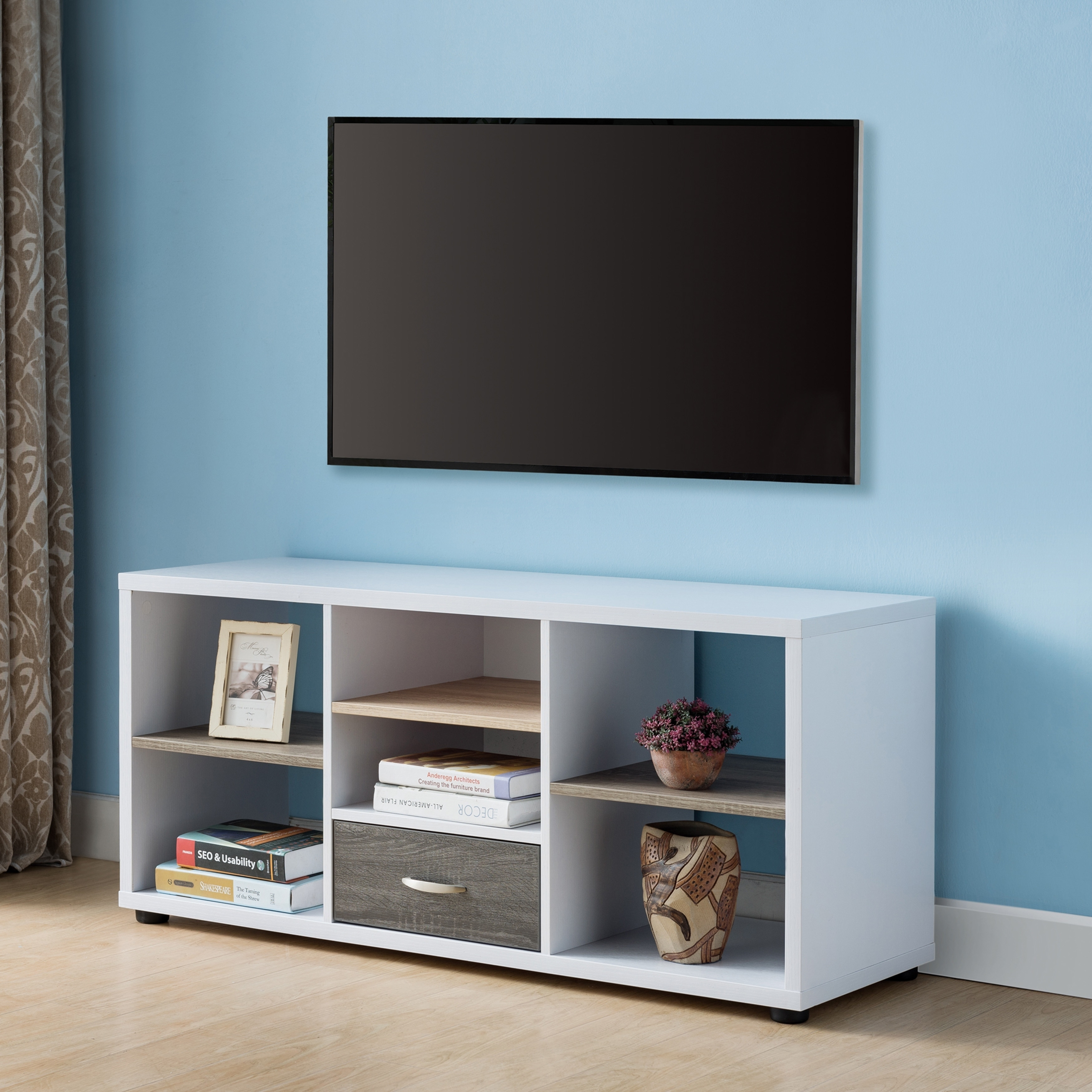 new concept 0d6ad 1d8d7 Furniture of America Sven Modern 47-Inch White Open TV Stand