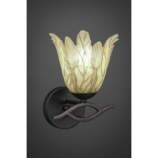 Revo Dark Granite Finish Steel 1-Light Wall Sconce With Glass Shade