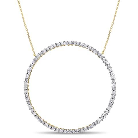 Miadora 10k Yellow Gold 3/4ct TDW Diamond Circle of Life Necklace