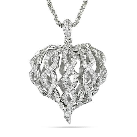 Miadora 18k White Gold 1 2/5ct TDW Diamond Twisted Heart Necklace