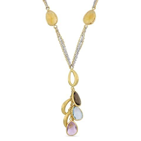 Miadora 2-Tone 18k White and Yellow Gold 16 1/2ct TGW Multi-Gemstone Dangle Y-Necklace