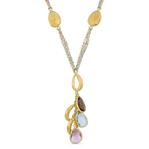 Miadora 2-Tone 18k White and Yellow Gold 16 1/2ct TGW Multi-Gemstone Dangle Y-Necklace