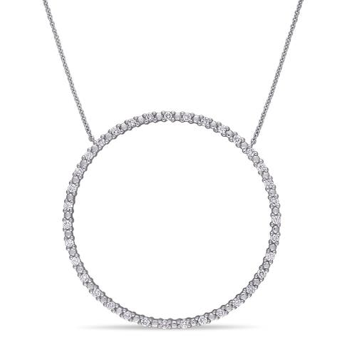 Miadora 10k White Gold 3/4ct TDW Diamond Circle of Life Necklace
