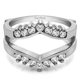 0 42 Ct Prong Set Round Chevron Ring Guard In Solid 14k Gold Set With Moissanite
