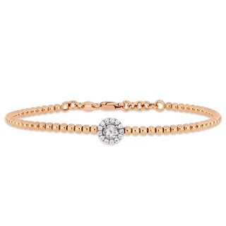 Miadora 18k 2-Tone White and Rose Gold 1/7ct TDW Diamond Beaded Halo Bangle Bracelet