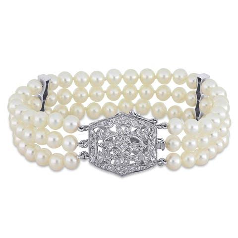 Miadora 14k White Gold Cultured Freshwater Pearl and 1/5ct TDW Diamond Triple-Row Bracelet (5-6 mm)