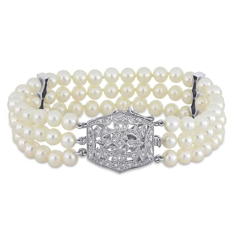 Miadora 14k White Gold Cultured Freshwater Pearl and 1/5ct TDW Diamond Triple-Row Bracelet (5-6 mm)