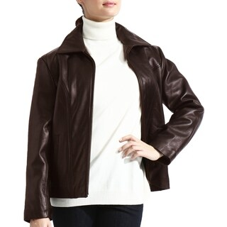 Brown Lambskin Leather Scuba Jacket zip-out liner